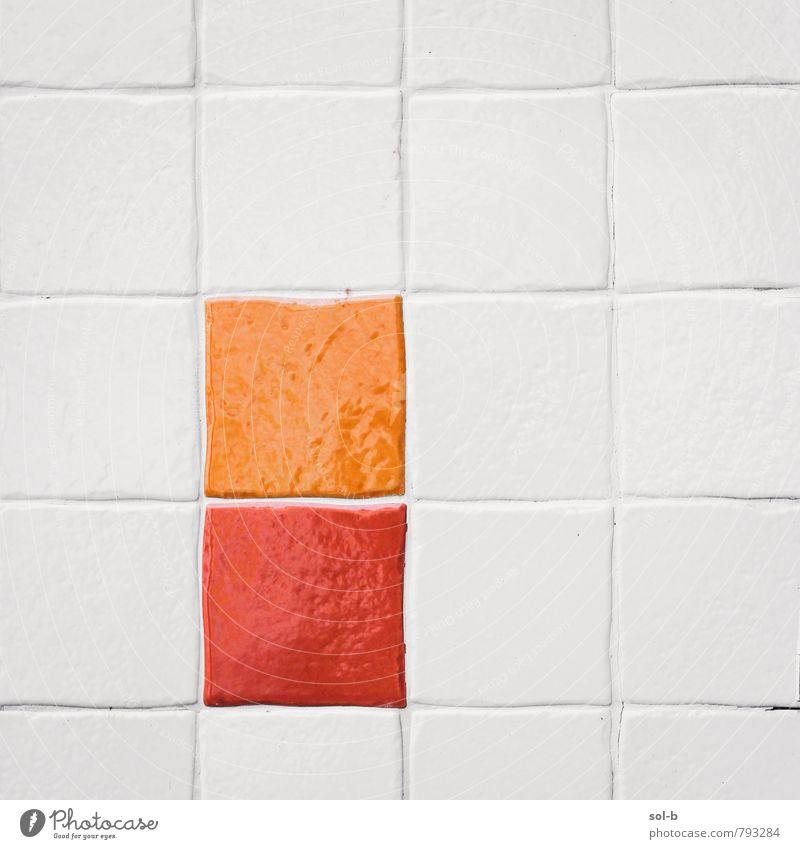 Farbe weiß rot Wand Innenarchitektur Stil Mauer Kunst Stimmung Linie orange Design Dekoration & Verzierung modern ästhetisch Kreativität