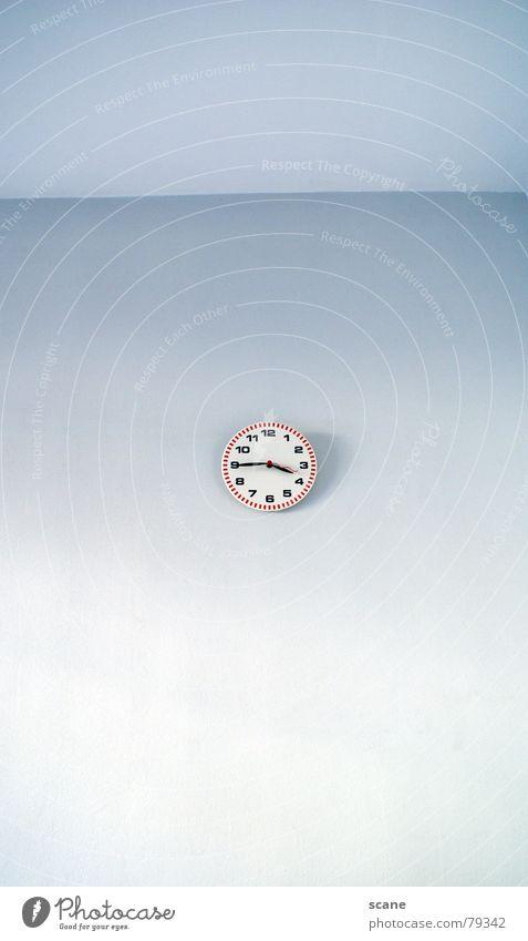 Viertel vor Vier blau Wand Mauer Raum Zeit Ecke Uhr Dekoration & Verzierung Ziffern & Zahlen 4 Wohnzimmer himmelblau Uhrenzeiger
