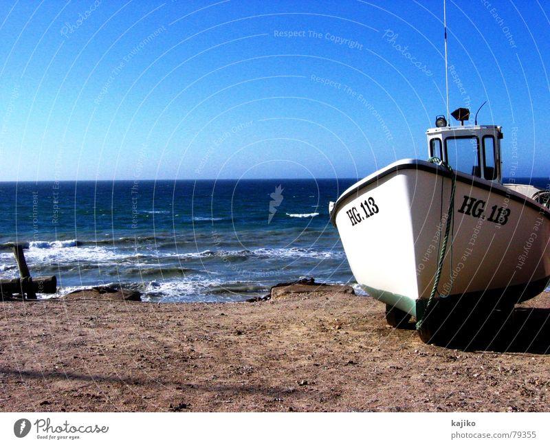 Lönstrup See Meer Arbeit & Erwerbstätigkeit Einsamkeit Fischerboot zurückziehen Wasserfahrzeug Dock Strand Sommer Liegeplatz Meeresspiegel Hafen Küste lönstrup