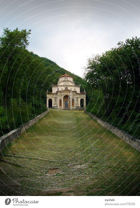 Idylle mit Bodenfalten Italien Religion & Glaube Hoffnung Hügel Ferien & Urlaub & Reisen wandern Christentum Götter Wald Park Baum Gebäude Haus grün grau Wolken