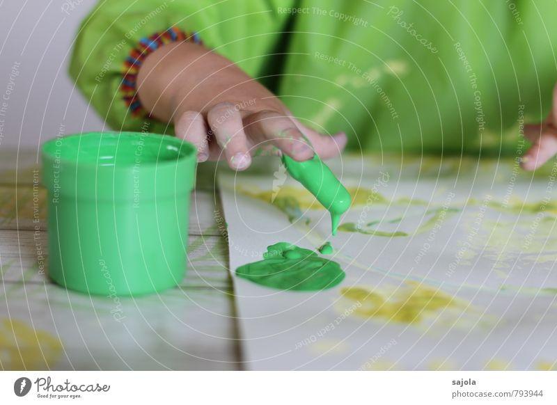 kleckserei - grüner finger Mensch androgyn Kind Kleinkind Hand Finger 1 1-3 Jahre Kunst Künstler Maler ästhetisch Freude Farbe Konzentration Kreativität malen