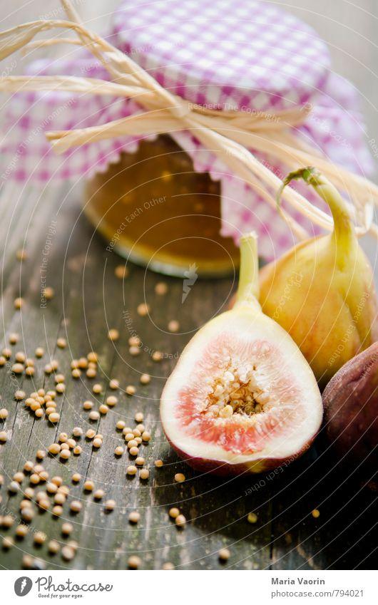 Feigensenf Lebensmittel Marmelade Ernährung Vegetarische Ernährung frisch lecker saftig süß Einmachglas selbstgemacht Holztisch Senfkörner Marmeladenglas