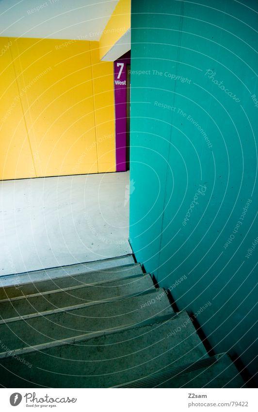 seven grün blau rot Haus gelb Farbe Wand Treppe modern Ecke Ziffern & Zahlen Etage Leiter Garage