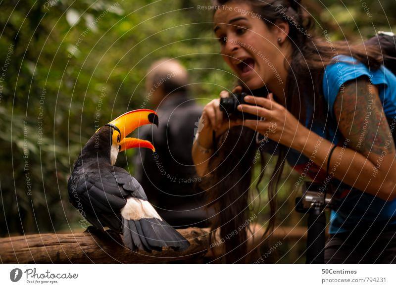 the risk of wildlife photography Mensch Natur Ferien & Urlaub & Reisen Jugendliche Junge Frau Freude Tier Wald Umwelt Freizeit & Hobby Angst Wildtier wandern