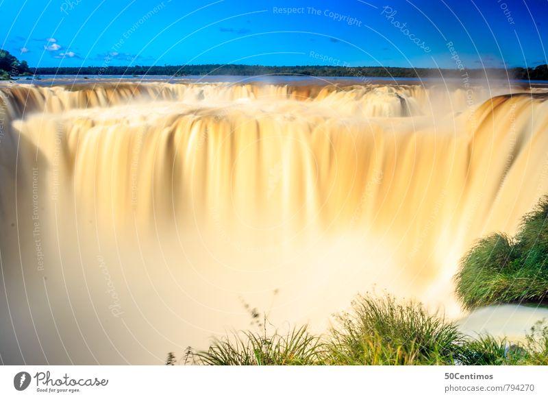 Wassermassen Ferien & Urlaub & Reisen Abenteuer Ferne Umwelt Natur Landschaft Himmel Horizont Sommer Klima Schönes Wetter Unwetter Gras Wald Fluss Wasserfall