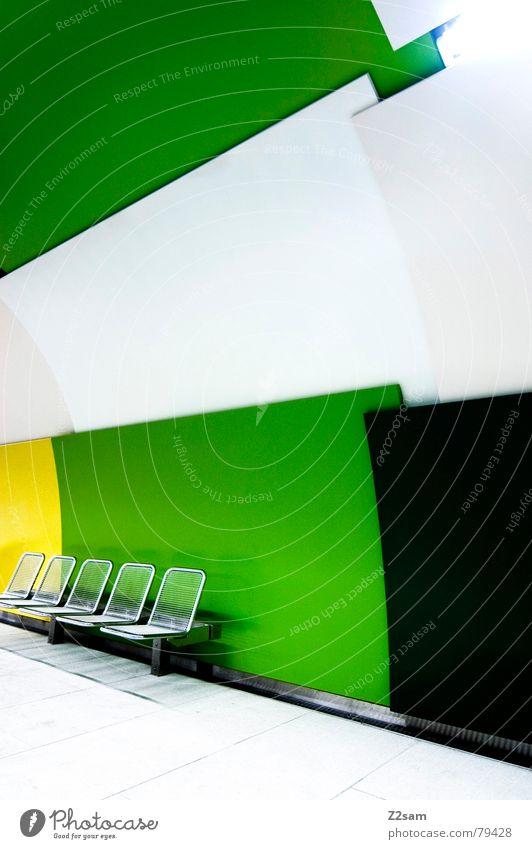 underground seats III Strukturen & Formen aufeinander Stuhl grün gelb Geometrie abstrakt graphisch U-Bahn Untergrund 5 London Underground Stil modern