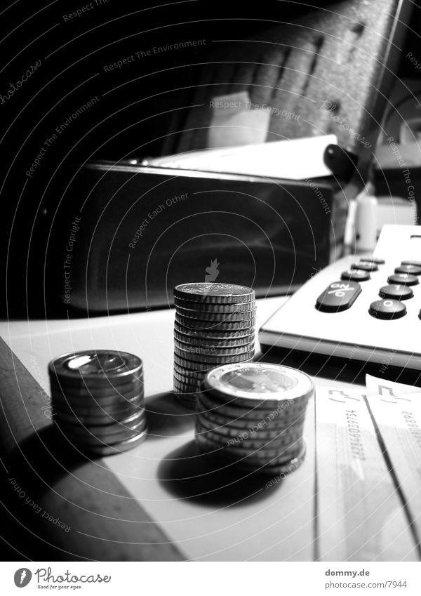 Kassensturz Geld Geldscheine Geldmünzen Taschenrechner