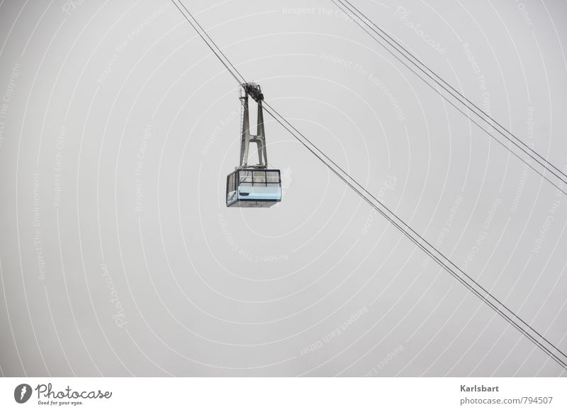 Auf Abwärts. Ferien & Urlaub & Reisen Sommer Winter kalt Berge u. Gebirge Bewegung Schnee Eis Nebel Verkehr Luftverkehr Tourismus Klima wandern