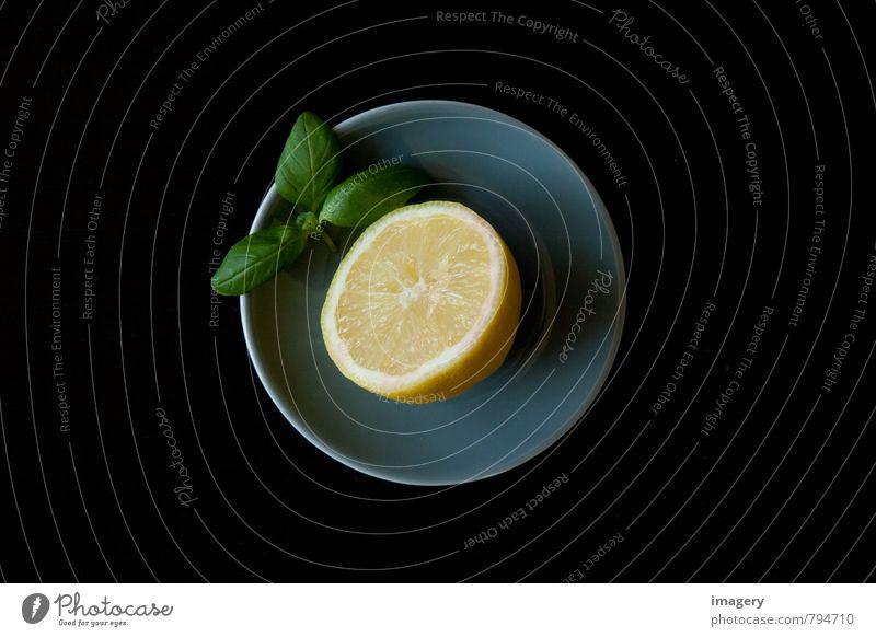 Zitrone à la Basilikum grün Blatt gelb Leben Essen Gesundheit Gesundheitswesen Lebensmittel Frucht Ernährung genießen Fitness Kräuter & Gewürze Wellness