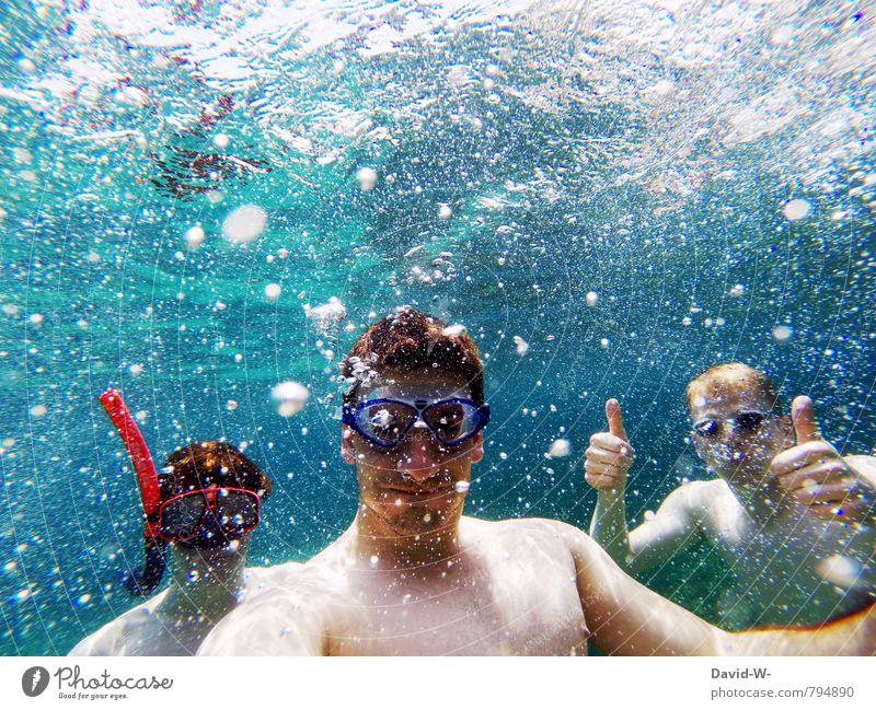 Unterwasserurlaub Mensch Kind Ferien & Urlaub & Reisen Jugendliche blau Sommer Meer Freude Strand 18-30 Jahre Erwachsene Schwimmen & Baden maskulin