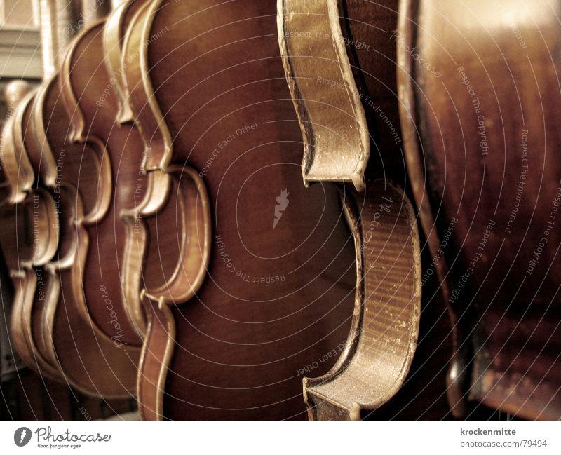 Klangkörper Holz Musik mehrere Reihe Handwerk Ton Musikinstrument Schwung Geige Klassik klassisch musizieren Violine spielen