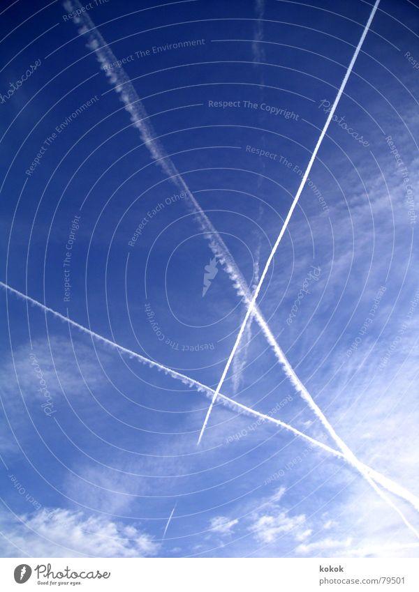 irgendwo kreuzten sich unsere Wege Wege & Pfade kreuzen Wolken Kondensstreifen Flugzeug Licht Dreieck Luft Winter Sommer Herbst Unendlichkeit Stuttgart