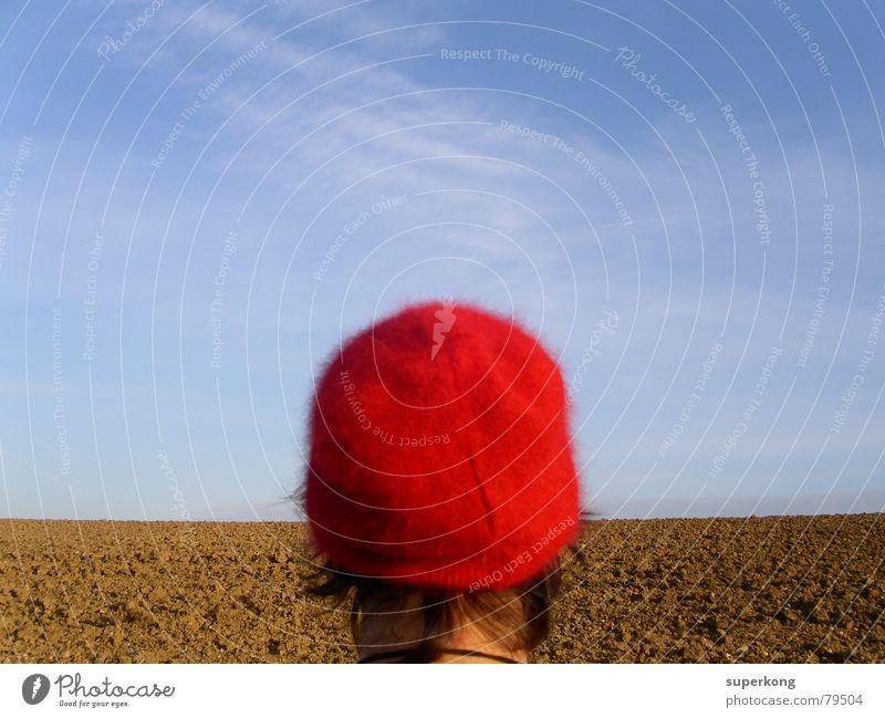 012 Mädchen Baseballmütze Tugend vertraut Rotkäppchen Frau Schüchternheit Fröhlichkeit Feld Stil Himmel Naturliebe kappe blau schön Anmut Blick Auge Kind