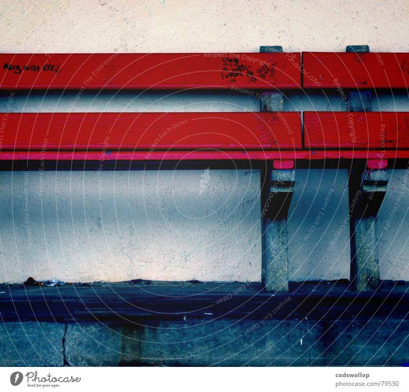 abz was ere ! blau rot Wand Graffiti sitzen Bank Möbel Haushalt Gruß Wandmalereien Filzstift
