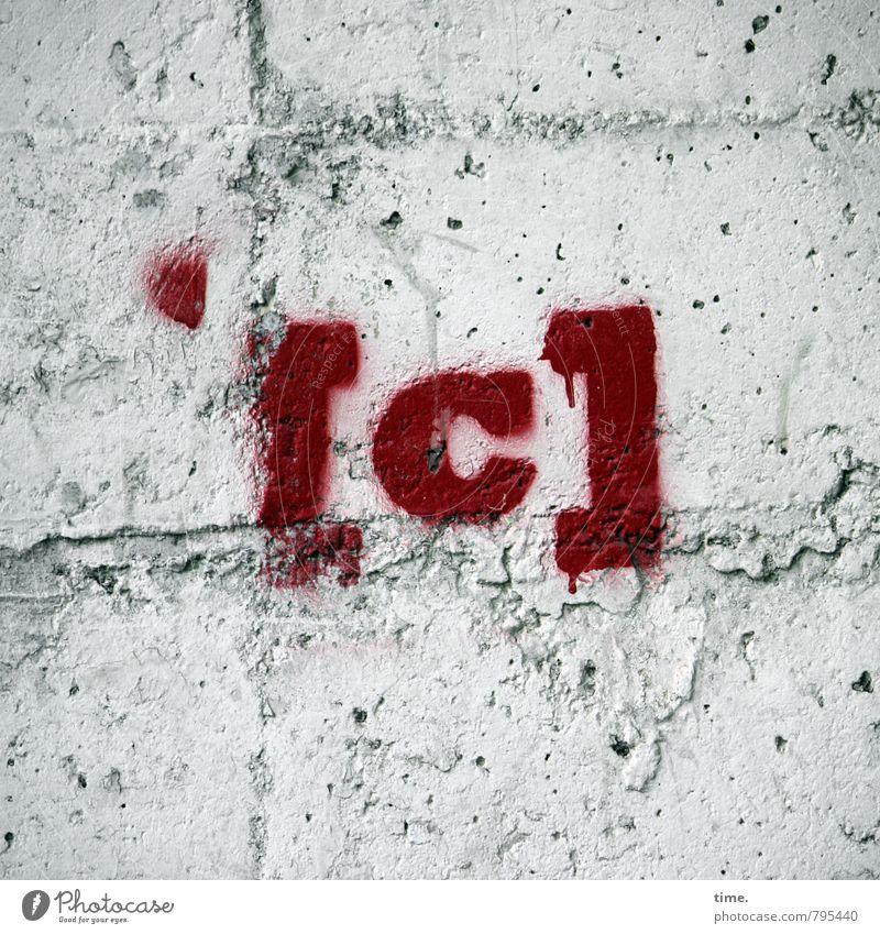 Insiderwitz Farbe rot Wand Graffiti Farbstoff Mauer grau Stein Business Design Schilder & Markierungen Schriftzeichen ästhetisch Beton Zeichen planen
