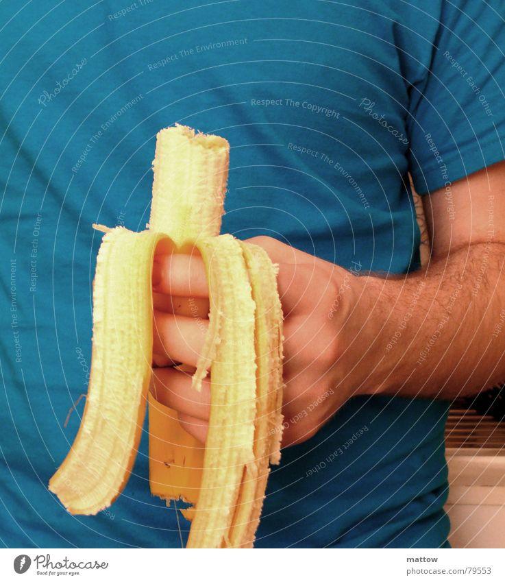 Banana Joe Banane Ernährung Hand T-Shirt Finger gelb Speise Abendessen Mahlzeit Hemd Fastfood Frucht Vegetarische Ernährung Lebensmittel Bauch Arme Essen