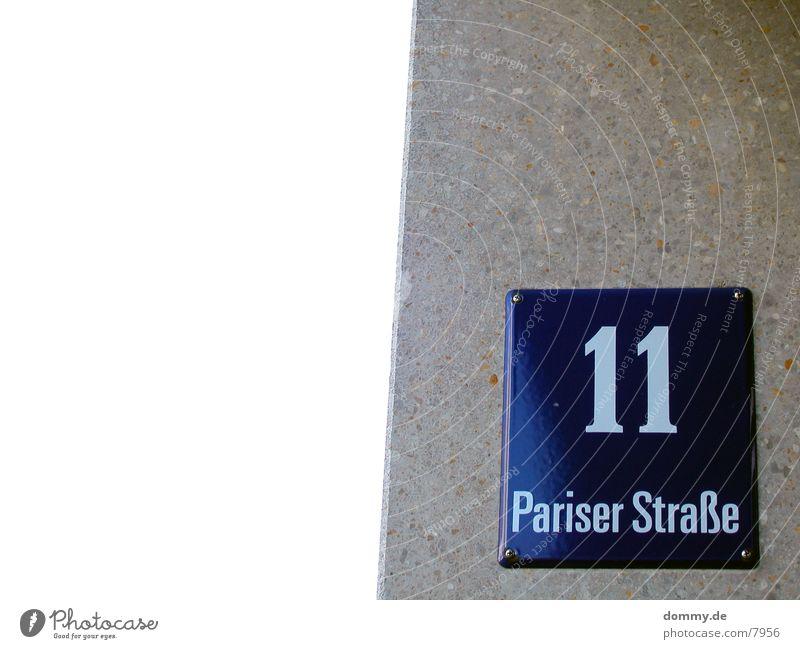 .:11:. Pariser Straße blau Wand Schilder & Markierungen Ziffern & Zahlen