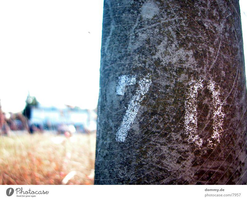 .:70:. Ziffern & Zahlen Laterne grau Feld gelb Makroaufnahme Nahaufnahme siebzig Sonne kaz