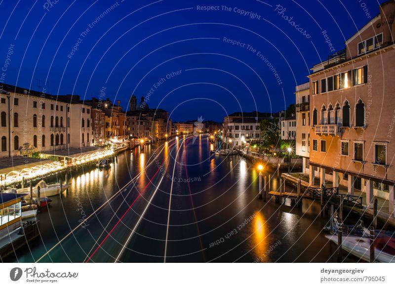 Venedig in der Nacht schön Ferien & Urlaub & Reisen Tourismus Kultur Himmel Wolken Stadt Brücke Gebäude Architektur Verkehr Straße Wasserfahrzeug historisch