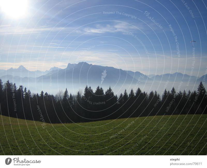 sommer in den bergen II Wiese Nebel Wolken Sommer Physik schön Sonne Außenaufnahme Österreich Berge u. Gebirge Himmel hell Wärme Freiheit Beleuchtung Alpen