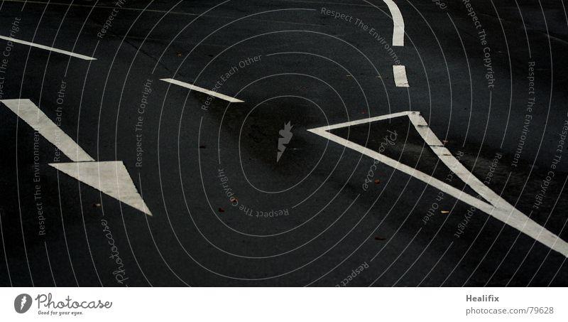 Da längs! Spuren Fahrbahn Pause Teer abbiegen Richtung Verkehr schwarz Wandel & Veränderung Asphalt weiß Schwarzweißfoto Farbe Straße Wege & Pfade Linie