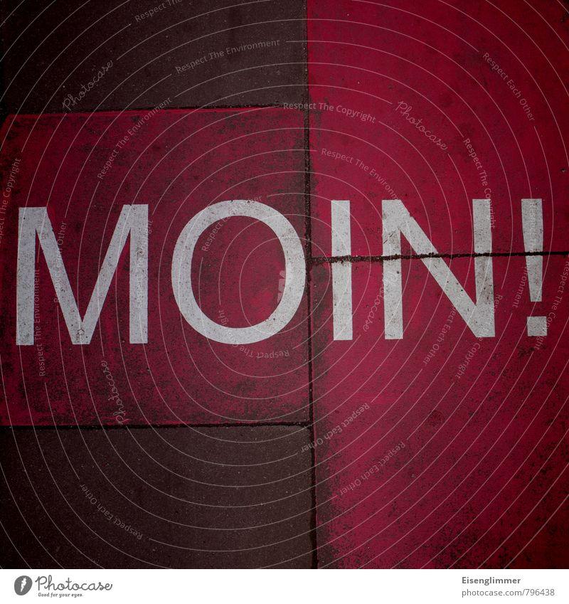 MOIN! Stein Schriftzeichen positiv Stadt rot weiß Optimismus Akzeptanz Bürgersteig moin Begrüßungsworte Bodenplatten Straßenkunst Ausrufezeichen Farbfoto
