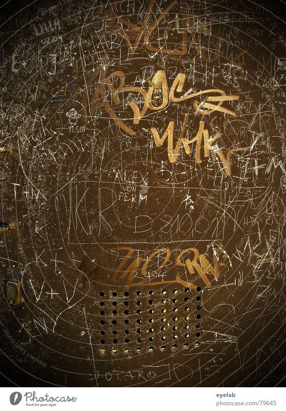 Ratewand alt Wand Graffiti Mauer Kunst Suche Schriftzeichen Hoffnung Kommunizieren Information Gemälde Stahl Typographie trashig Strukturen & Formen Lust