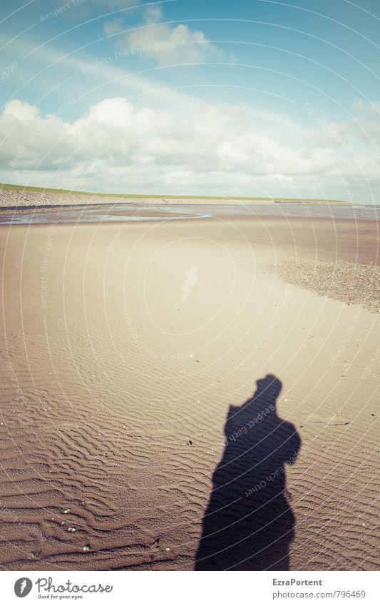 Hej Mensch Himmel Natur Ferien & Urlaub & Reisen Mann blau Sommer Meer Erholung Landschaft Wolken Strand Umwelt gelb Erwachsene Frühling
