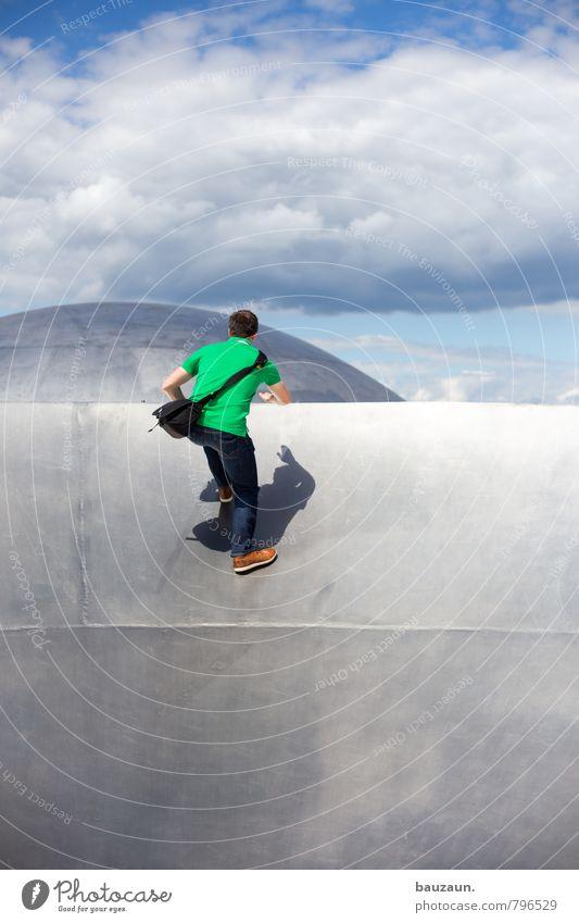 körperschatten. Freude Fitness Sport-Training Klettern Bergsteigen Mensch maskulin Junger Mann Jugendliche Körper 1 30-45 Jahre Erwachsene Himmel Wolken