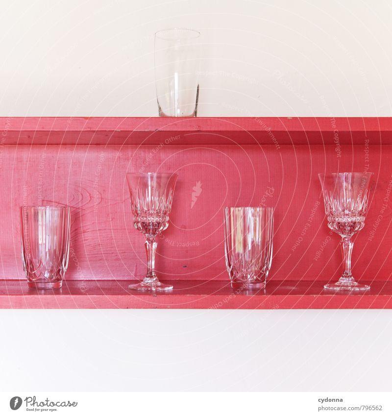 Gut sortiert schön Farbe rot ruhig Stil Lifestyle Design Ordnung mehrere Glas ästhetisch leer genießen einzigartig Küche Bar