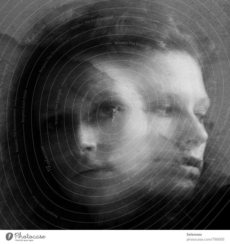 Janus Mensch feminin Frau Erwachsene Kopf Haare & Frisuren Gesicht Auge Nase Mund Lippen Gefühle Stimmung Angst Stress Nervosität verstört unentschlossen