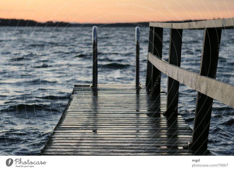 Lass uns baden gehen! Halbinsel Steg Glätte Finnland Meer Holz Abend Sonnenuntergang Dämmerung Winter Wolken kalt nass Ferien & Urlaub & Reisen Strand Küste