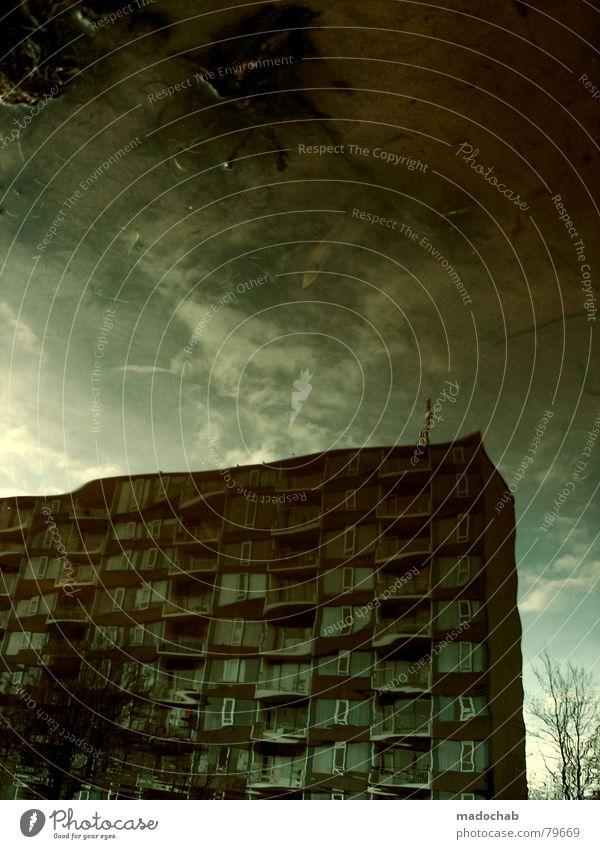 ATLANTIS Pfütze wirklich Nebel nass Herbst Haus Hochhaus Gebäude Material Fenster live Block Beton Etage trist dunkel Leidenschaft Spiegel Vermieter Mieter