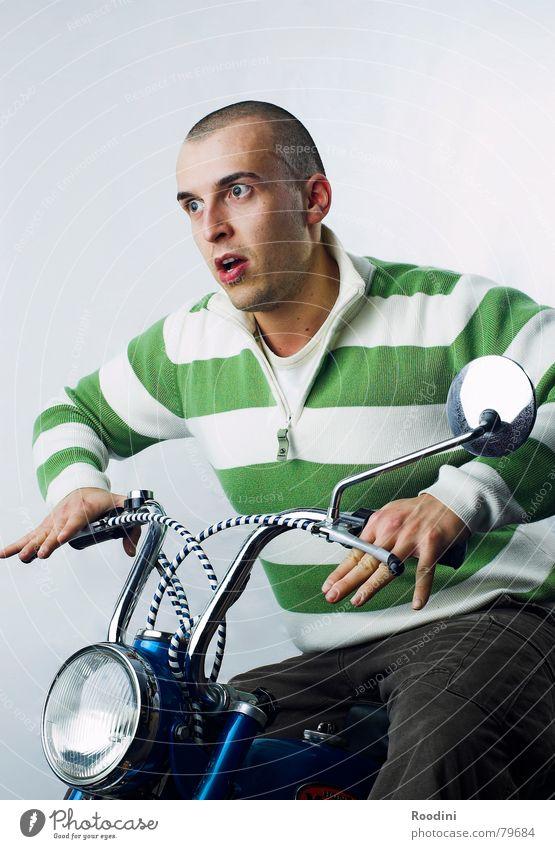 ab durch die wand Kleinmotorrad Fahrer kultig Motorrad fahren Scheinwerfer Verkehrsmittel Licht Rückspiegel Motorradfahrer lenken Bremse Tuning Spaßvogel