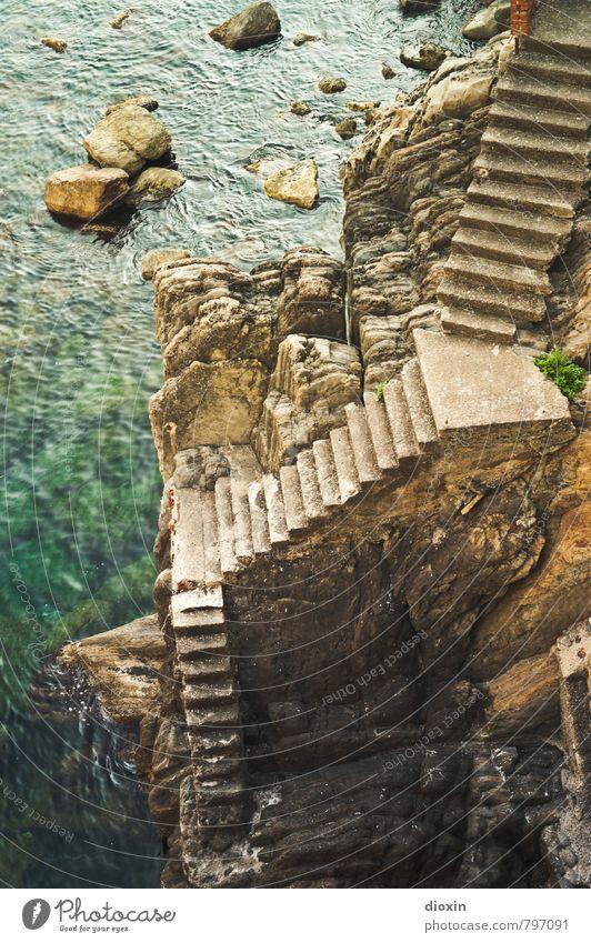 treppauf, treppab Ferien & Urlaub & Reisen Tourismus Sightseeing Sommer Sommerurlaub Meer Felsen Küste Mittelmeer Cinque Terre Ligurien Treppe bedrohlich hoch