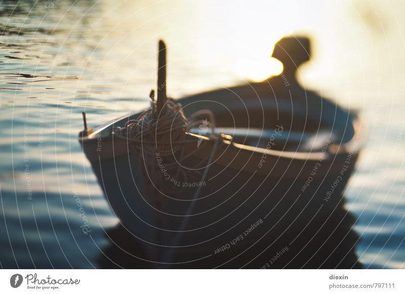 rowboat [1] Ferien & Urlaub & Reisen Sommer Sommerurlaub Sonne Wasser Sonnenlicht Wellen Küste Meer Mittelmeer Schifffahrt Ruderboot Seil Schwimmen & Baden