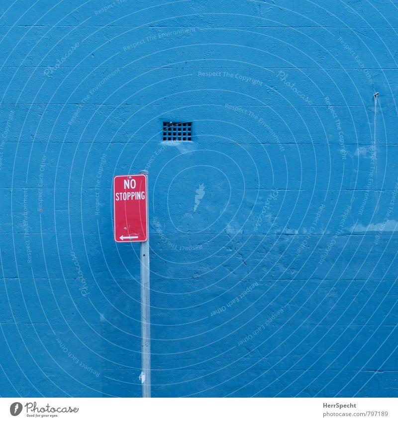 No stopping Sydney Australien Mauer Wand Schriftzeichen Schilder & Markierungen Hinweisschild Warnschild Verkehrszeichen Stadt blau rot Halteverbot Spuren Farbe