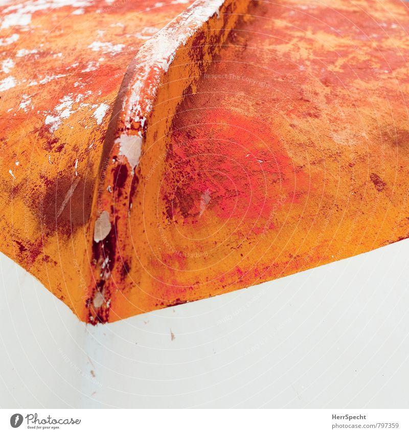 kieloben Ferien & Urlaub & Reisen Tourismus Ausflug Küste Meer Schifffahrt Bootsfahrt Fischerboot Ruderboot alt ästhetisch maritim orange weiß Farbe stagnierend