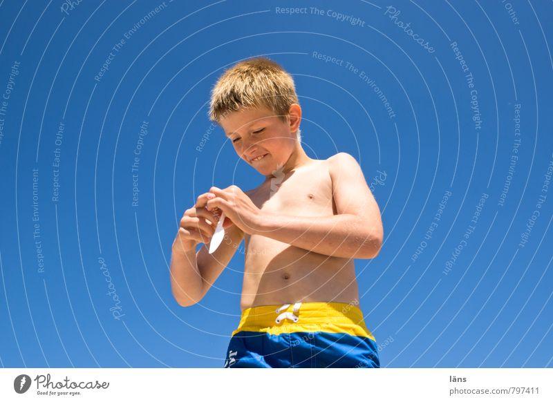 beachboy Mensch Kind Ferien & Urlaub & Reisen Jugendliche blau Sommer Freude Strand Küste Junge Spielen Glück Freizeit & Hobby maskulin Zufriedenheit Kindheit