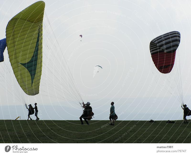 Der Traum vom Fliegen Himmel Ferne Sport Erholung Berge u. Gebirge Freiheit Glück träumen Wärme Vogel Angst Flugzeug Wind fliegen Luftverkehr Sportmannschaft