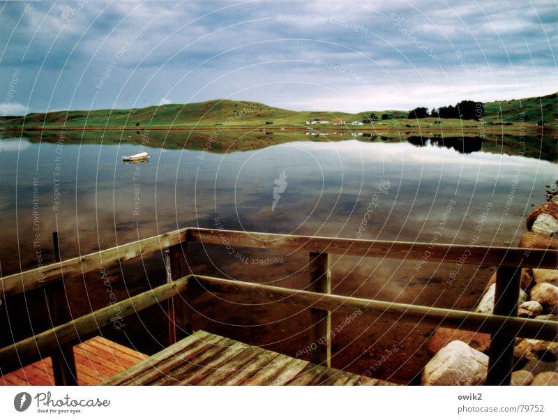 Bootssteg in Jütland Himmel Natur Wasser Meer Landschaft Wolken ruhig Ferne Strand Umwelt Wiese Holz Freiheit Wasserfahrzeug Horizont Tourismus