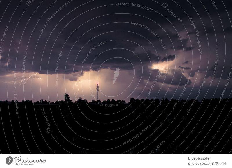 Blitz und...den Donner hört man leider nicht! Umwelt Natur Landschaft Luft Himmel Wolken Gewitterwolken Nachthimmel Horizont Sommer Unwetter Wind Blitze Pflanze