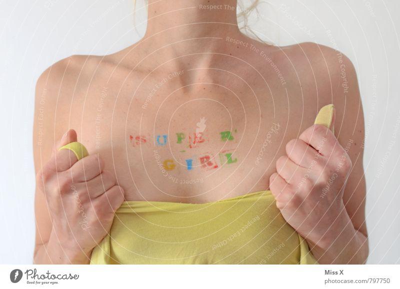 Super- schön Körperpflege Haut Erwachsenenbildung Karriere Erfolg Mensch feminin Junge Frau Jugendliche Brust Frauenbrust 1 18-30 Jahre Stempel Schriftzeichen