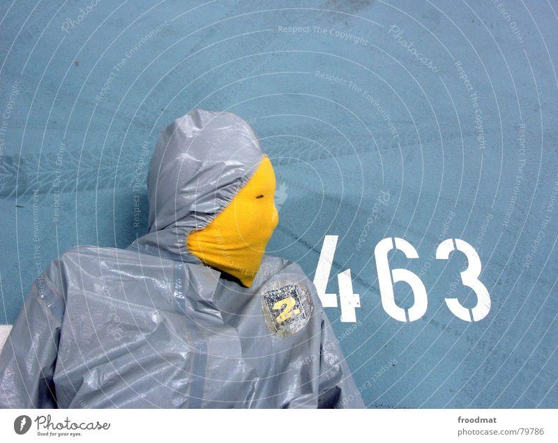grau™ - 463 Parkhaus gelb grau-gelb Anzug Gummi Kunst dumm sinnlos ungefährlich verrückt lustig Freude Silhouette Ziffern & Zahlen Typographie Reifenspuren