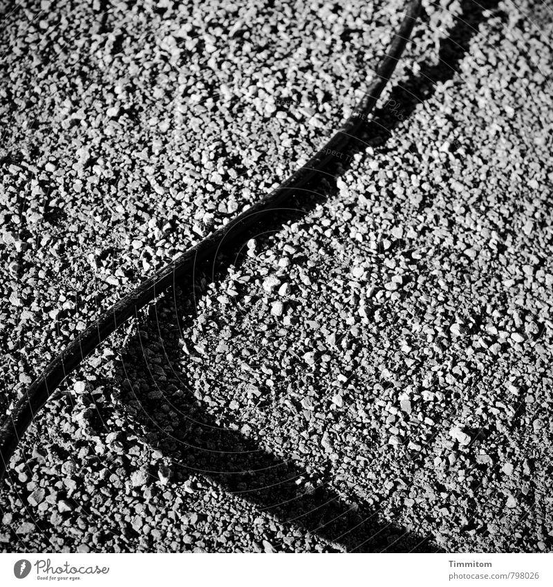 Jumping At Shadows II Kabel Schatten Stein Sand liegen dunkel einfach fest grau schwarz Gefühle Schwarzweißfoto Kontrast Außenaufnahme Menschenleer Tag