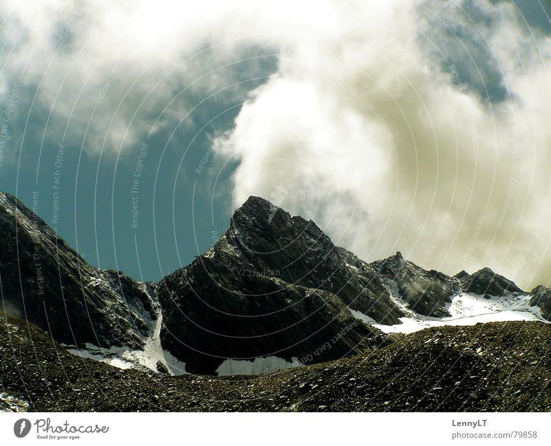 SWEATY MOUNTAIN Himmel Ferien & Urlaub & Reisen blau Wolken kalt Berge u. Gebirge Schnee Spielen Eis Wetter groß Alpen Klettern Bergsteigen aufsteigen