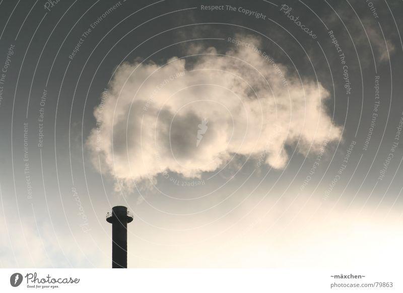 Umweltverschmutzung Wolken Rauch dunkel Himmel Klimawandel Makroaufnahme Ferne Zoomeffekt Industrie dreckig Sonne Schornstein Stromkraftwerke vattenfall