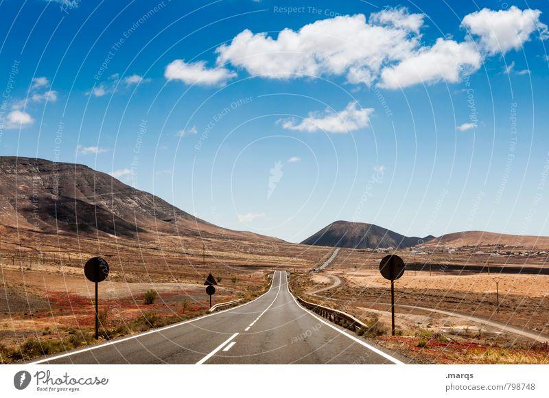 Ein weiter Weg Ferien & Urlaub & Reisen Ausflug Abenteuer Ferne Freiheit Landschaft Himmel Wolken Horizont Sommer Schönes Wetter Hügel Steppe Verkehr Straße