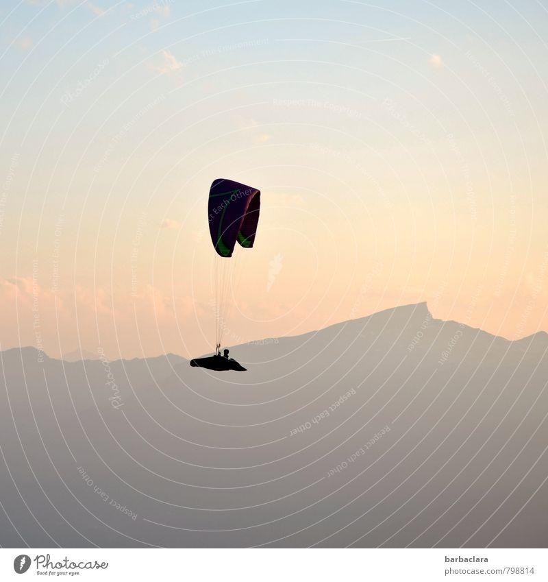 fliegen | macht high Freizeit & Hobby Gleitschirmfliegen Mensch 1 Luft Himmel Sonne Alpen Berge u. Gebirge Nebelhorn (Berg) Gipfel hell hoch Gefühle Freude Mut