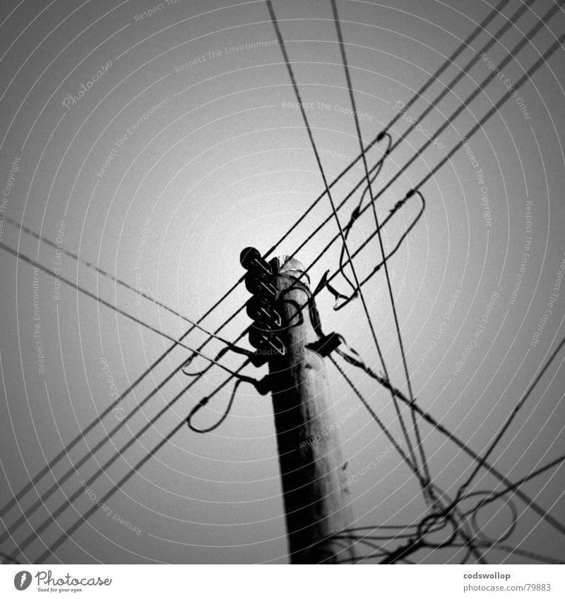 communication breakdown Verbundenheit Chatten Freizeichen Spannung Fernschreiber schwarz weiß Telefonmast Kommunizieren to good übertragungsweg telegraph pole